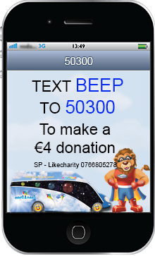 Text BEEP to 50300 to donate €4